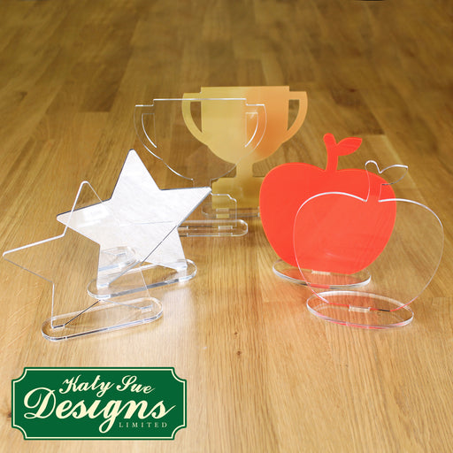 Freestanding Acrylic Shapes - Star, Apple and Trophy (Pack of 6)