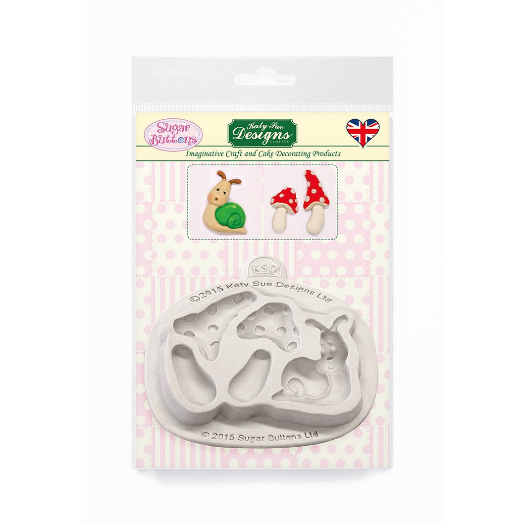C&D - Garden Snail & Toadstools Sugar Buttons Silicone Mould pack shot
