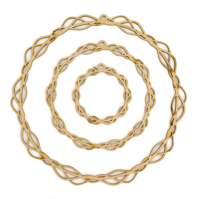 MDF Tangled Flower Circular Hoops (Set of 3)