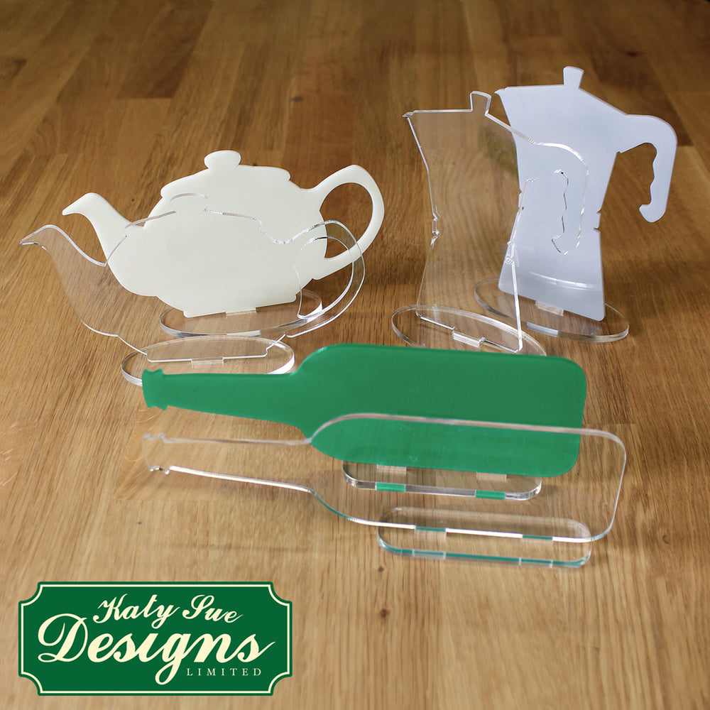 Freestanding Acrylic Shapes - Teapot, Coffee Pot and Wine Bottle (Pack of 6)
