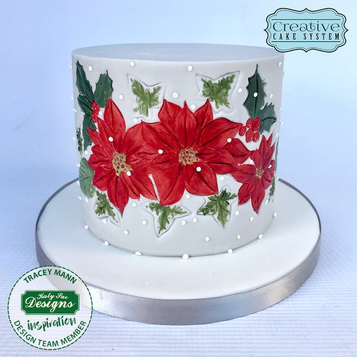 Poinsettia Silicone Cake Embosser Mould for Cake Decorating and Craft