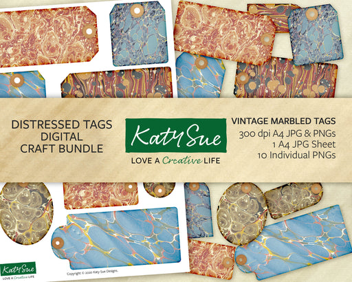 Vintage Marbled Tags | Digital Craft Bundle