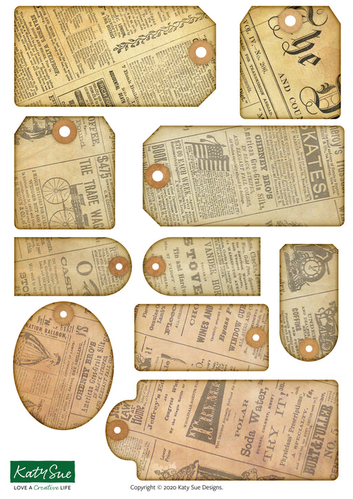 Vintage Newsprint Tags | Digital Craft Bundle