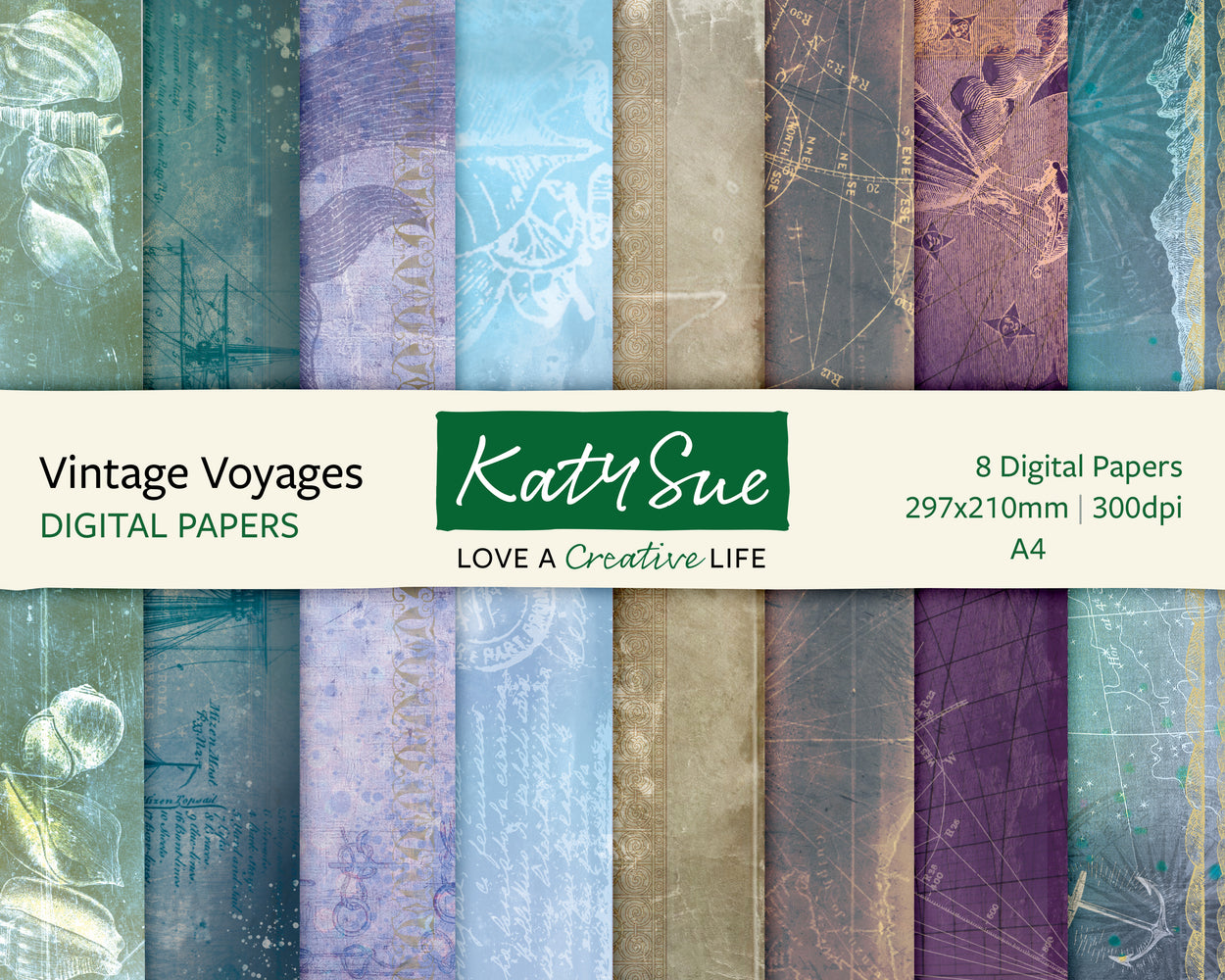 Vintage Voyages | A4 Digital Papers