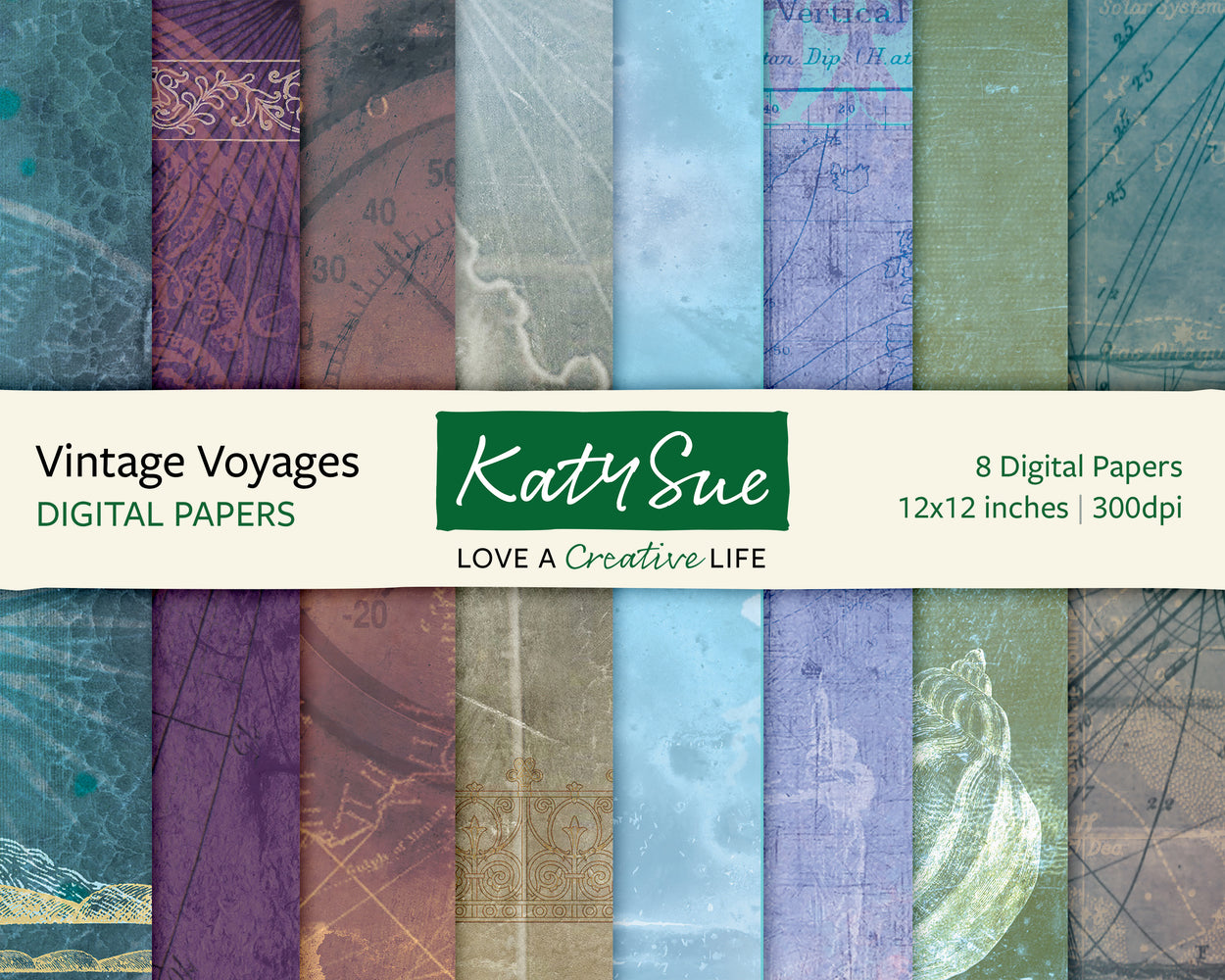 Vintage Voyages | 12x12 Digital Papers