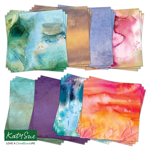 12 x 12 Watercolour Effects Backgrounds (24 Sheets)