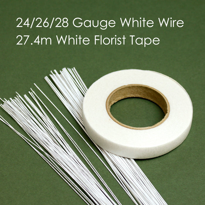 White Florist Wires and Tape Starter Pack
