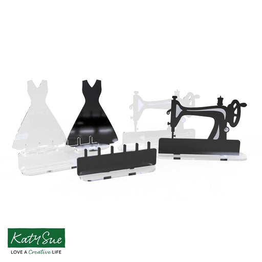 Freestanding Acrylic Shapes - Antique Sewing Machine, Dress and Spool Tidy (Pack of 6)