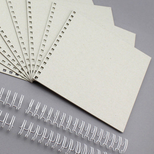 Build a Book 8 x 8  Side Punched  2mm Greyboard Covers & Wires -  8 Covers, 4 partially closed wires