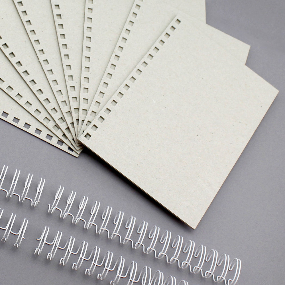 Build a Book Side Punched A5 Punched 2mm Greyboard Covers & Wires - 8 Covers, 4 partially closed wires