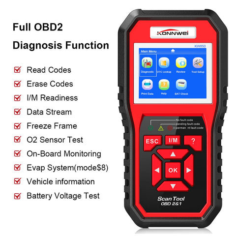 KONNWEI KW850 Enhanced Full OBD2 Auto Scanner