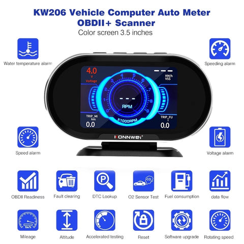 Konnwei KW206 Auto Onboard Computer Gauge and OBII Engine Scanner