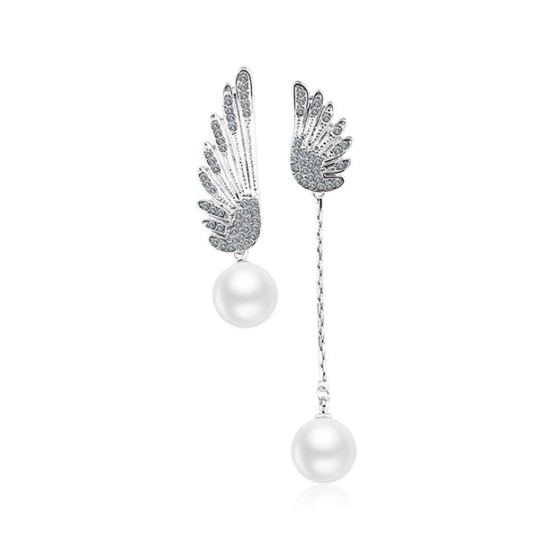 Hot sell fashion trend ear nail feather pearl plating platinum individual ear nail