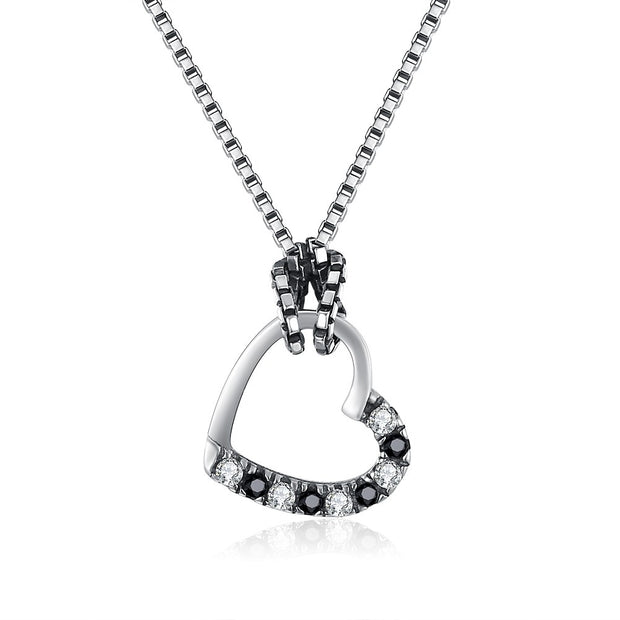 LEKANI S925 Sterling silver vintage heart shaped hollow necklace