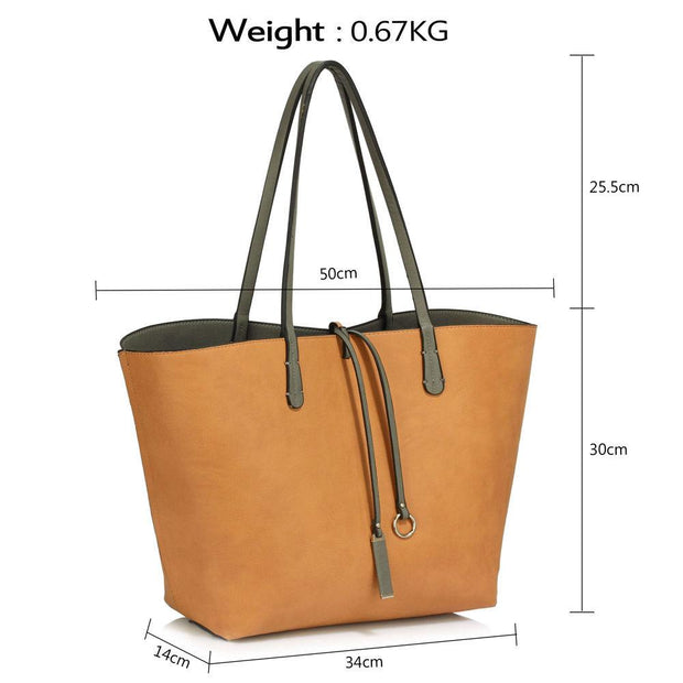 Ladies Women Large  Reversible Fashion Designer Shopper Shoulder Tote Handbags