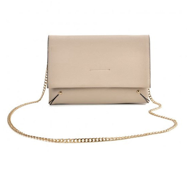 Beige Ladies solid color handbag with chain string strap fully lined PU material and press stud closure and adjustable shoulder straps