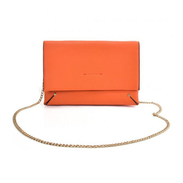 Orange Ladies solid color handbag with chain string strap fully lined PU material and press stud closure and adjustable shoulder straps