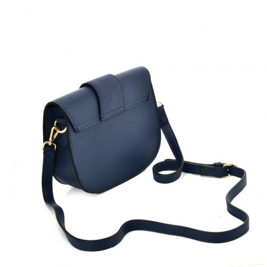 Blue Stylish and fashionable saddle bag shoulder bag sling bag with a big buckle and adjustable shoulder strap and spacious pockets for excursions, picnics, day-out, shopping, and leisure walk