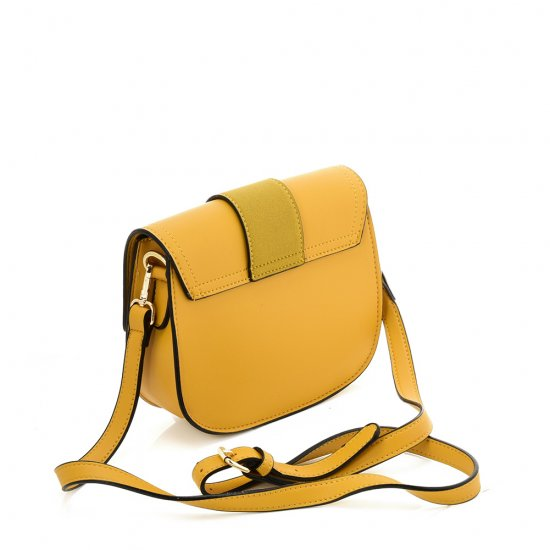 Yellow Stylish and fashionable saddle bag shoulder bag sling bag with a big buckle and adjustable shoulder strap and spacious pockets for excursions, picnics, day-out, shopping, and leisure walk
