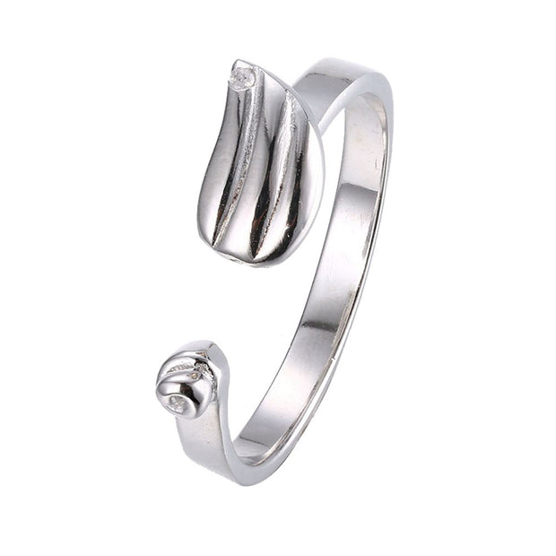 LKNQHS925R004 Simple classic ring white copper plated platinum ring