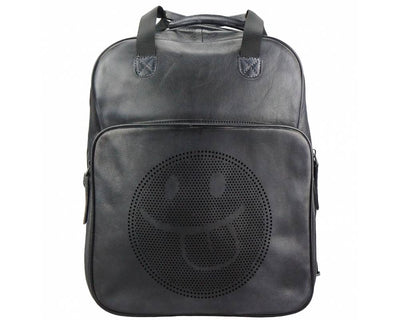 Black Stylish Vintage Leather Backpack with a Smiley Face Made with Premium Quality Leather Used for College/School/Picnics/Outings