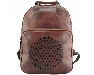 Brown Stylish Vintage Leather Backpack with a Smiley Face Made with Premium Quality Leather Used for College/School/Picnics/Outings
