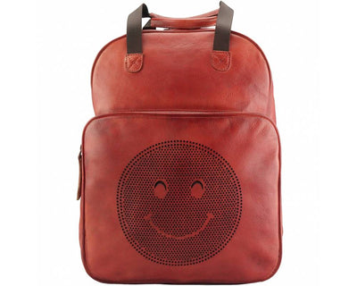 Red Stylish Vintage Leather Backpack with a Smiley Face Made with Premium Quality Leather Used for College/School/Picnics/Outings