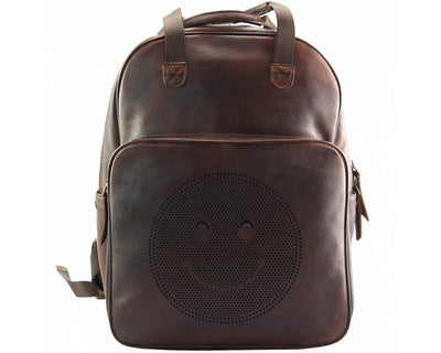 Dark Brown Stylish Vintage Leather Backpack with a Smiley Face Made with Premium Quality Leather Used for College/School/Picnics/Outings