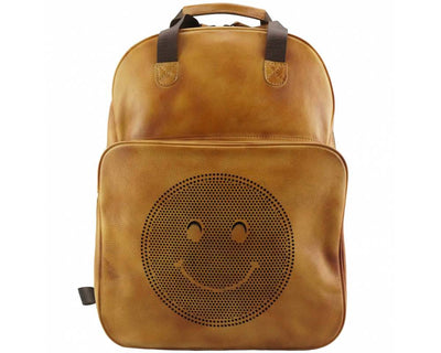 Tan Stylish Vintage Leather Backpack with a Smiley Face Made with Premium Quality Leather Used for College/School/Picnics/Outings