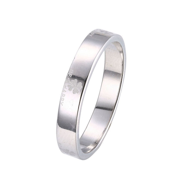 LKNQHS925R006  Simple classic ring white copper plated platinum ring