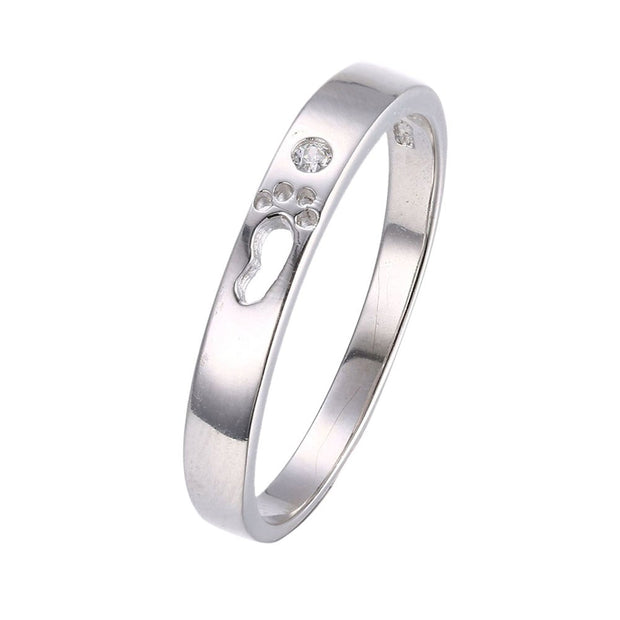 LKNQHS925R011  Simple classic ring white copper plated platinum ring