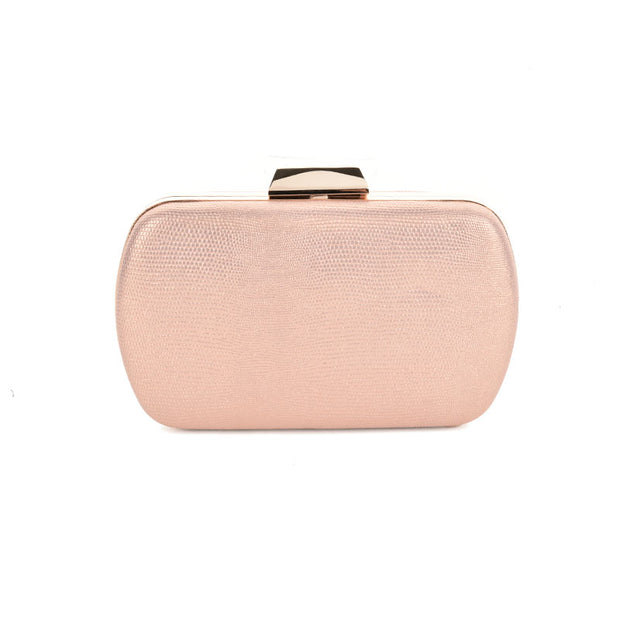 Women NUDE Stripe Shiny Evening Wedding Clutch Bag