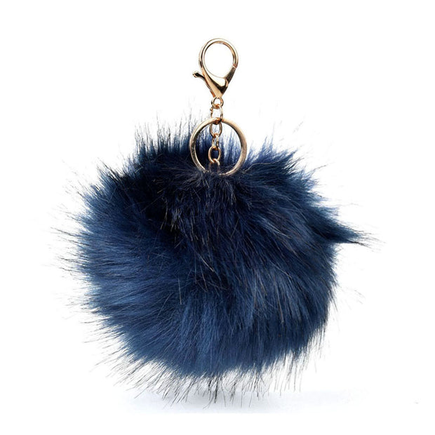 HGRQ279-1 Green - Fashion Furry Velvet Ball Metal Button Pendant