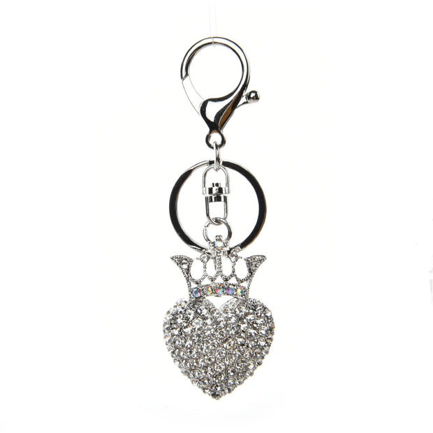 HGRQ303 Silver - Pretty Crown Pendant Bag Charm