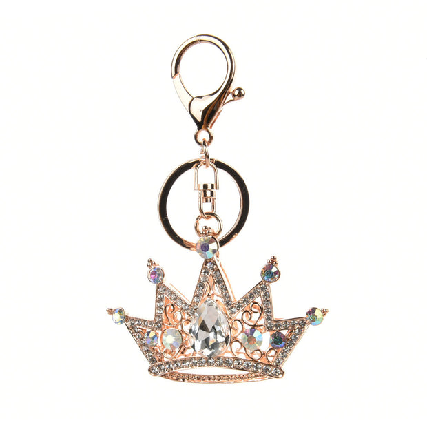 HGRQ306 Gold - Diamante Crown Pendant Bag Charm