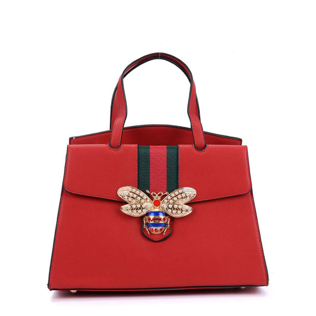 K0004 Red - Women Tote Bag With Bee Decoration