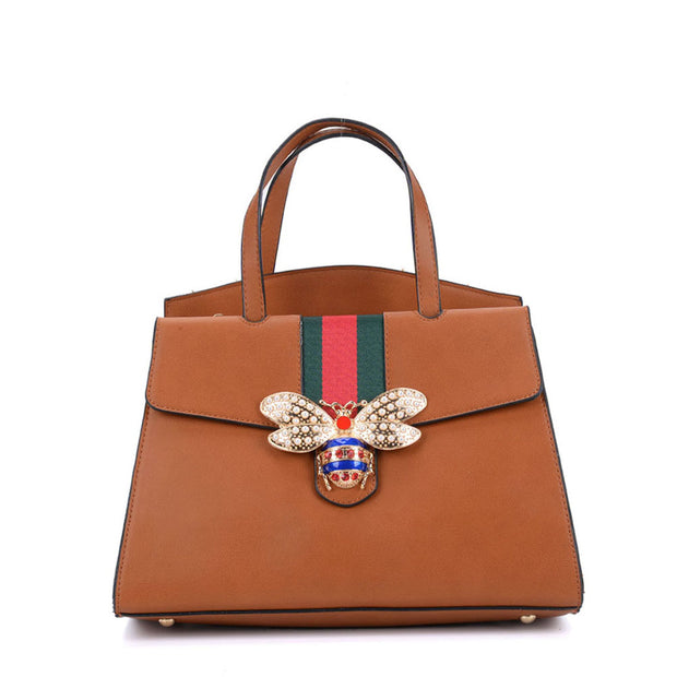 K0004 Tan - Women Tote Bag With Bee Decoration