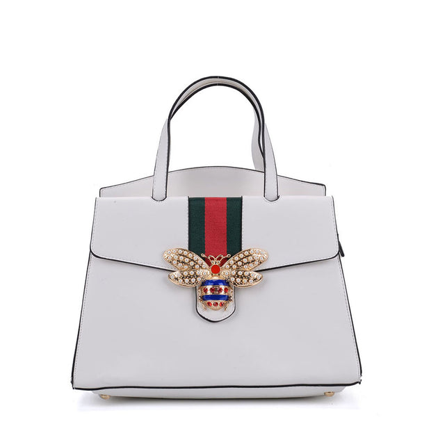 K0004 White - Women Tote Bag With Bee Decoration