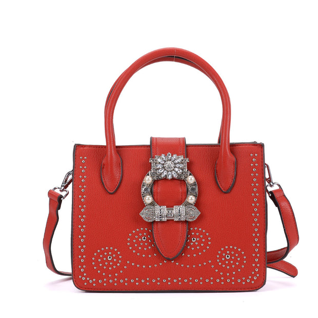 K0005 Red - Diamante Boxy Tote Bag With Metal Detail
