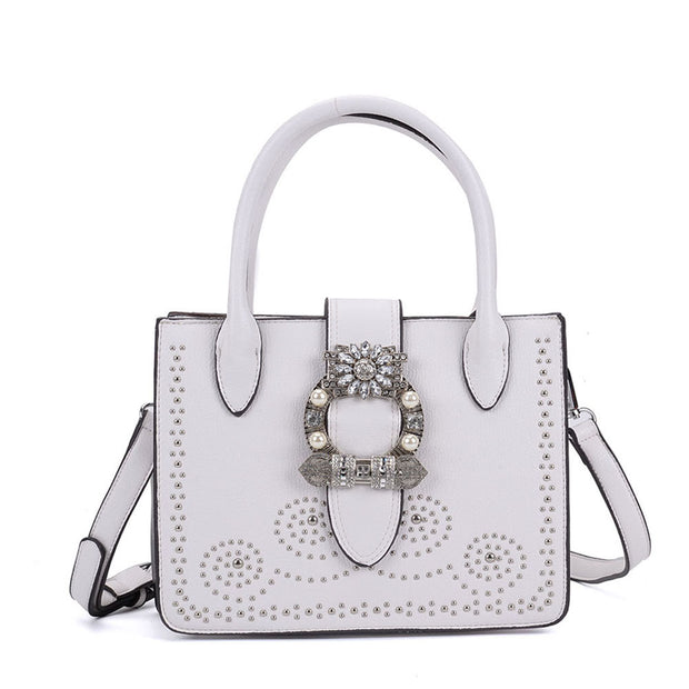K0005 White - Diamante Boxy Tote Bag With Metal Detail