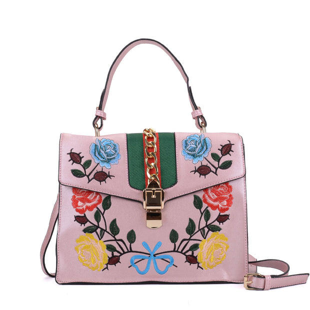 K0007 Pink - Floral Embroidery Handbag With Lock Detail
