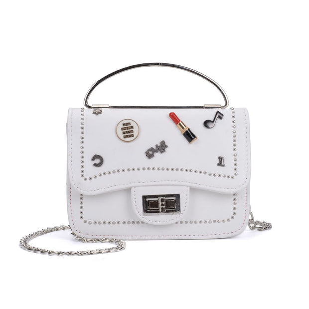 K0010 White - Studded Lock Detail Across Body Bag With Ring Handle