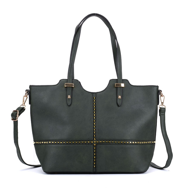 K0046 Olive - Large Studded Detail Tote Bag
