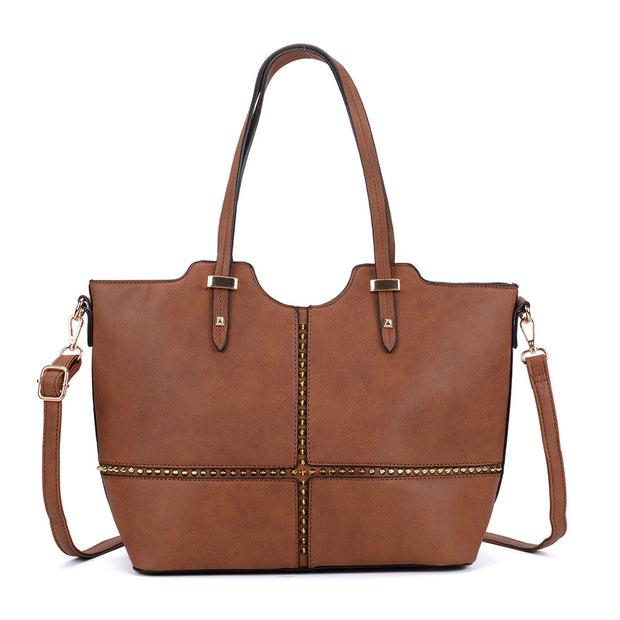 K0046 Tan - Large Studded Detail Tote Bag