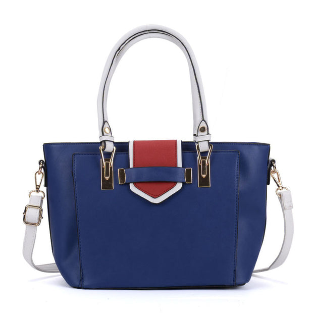 K0048 Navy - Contrast Handle Large New Tote Bag