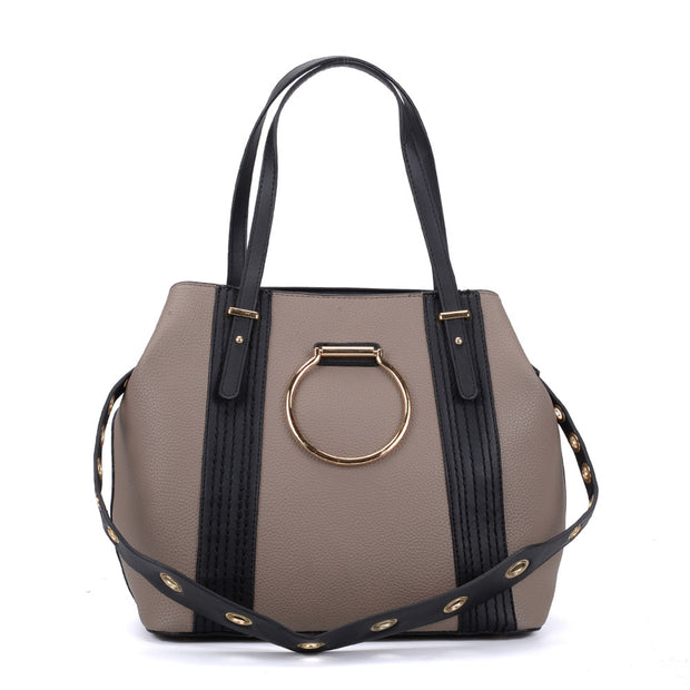 K0053 Khaki - Ring Detail Large Tote Bag With Contrast Strap