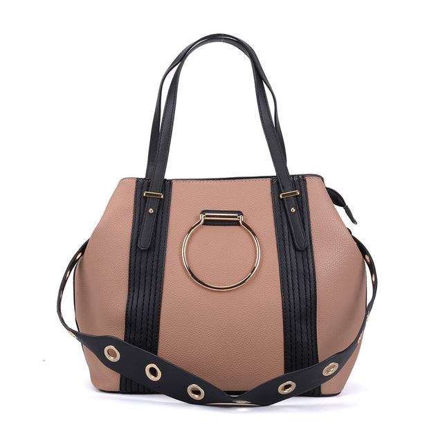 K0053 Pink - Ring Detail Large Tote Bag With Contrast Strap