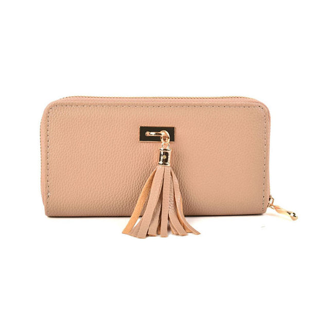 LBQ460 Khaki - Lady Zip Around Purse With Tassels Detail