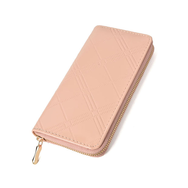 LBQ470 Light Pink - Embossed Patent Zip Top Coin Wallet