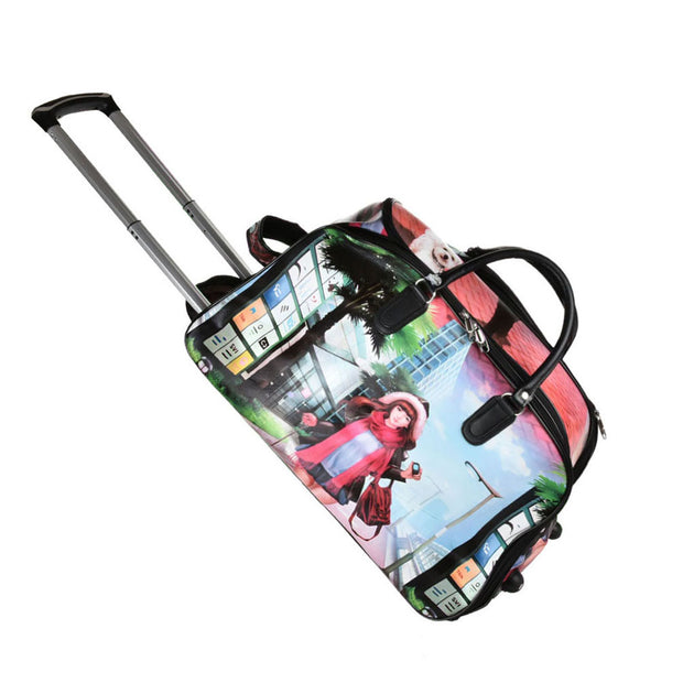 LG002-1 D - Small Size Pretty Girl Printing Luggage Trolley Duffle Bag